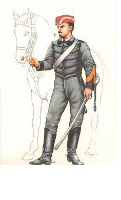 Sergente della 'Guide Garibaldine' a cavallo  3a Guerra per l'Indipendenza Nazionale, 1866