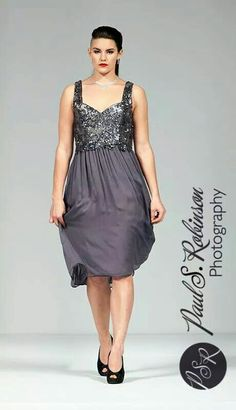 Grey chiffon and sequined dress