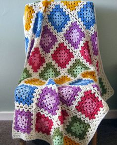Colour Blocks GRANNY SQUARE Crochet Blanket Afghan by Thesunroomuk, £105.00