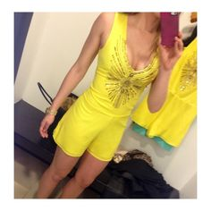 Bebe Yellow Romper Yellow embellished V-neck romper. Perfect for summer! Never worn with tags! bebe Dresses Mini