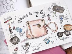 Cute girly bag by Anna Kolyadich - Bullet Journal Notes, Bullet Journal Tracker, Bullet Journal Layout, Bullet Journal Inspiration, Diary Decoration, Planner Doodles, Bullet Journel, Girly, Cartoon Tattoos