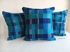 Blue Handwoven Contemporary Cushion - Wool Striped Pillow Case by MariannaNelloTextile on Etsy