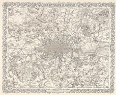 """COLTON, G.W. The Environs of London.  Original engraved map, from """"Colton's Atlas of the World, illustrating Physical and Political Geography"""", Vol 2, published by J. H. Colton and Company, New York, 1856. #map #antique #London"""