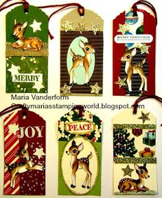 Stampin' Up! Cute Christmas Tags using 'Home for Christmas' DSP.