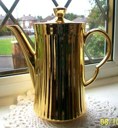 ROYAL WORCESTER~ENGLAND~GOLD LUSTRE~PORCELAIN COFFEE POT / TEAPOT~2 PINTS~EXC!