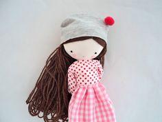 Заказать специальный для Лорен Эсме, Миа тряпичная кукла - искусства ткани тряпичная кукла футболки, юбки, носки и шляпы