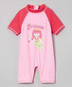 Look at this #zulilyfind! Pink 'Princess' One-Piece Rashguard - Infant & Toddler #zulilyfinds