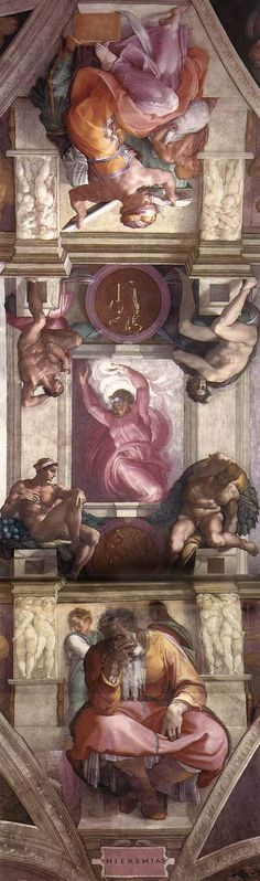 Michelangelo - Fresco of the ceiling of the Sistine Chapel - Vatican City. Caravaggio, Sistine Chapel Ceiling, Art Occidental, High Renaissance, Renaissance Paintings, Italian Art, Painting & Drawing, Cave Painting, Western Art