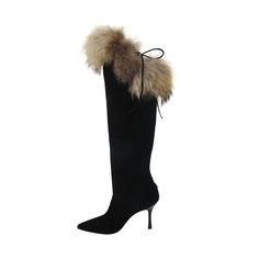 Manolo Blahnik Black Suede Knee High Boots with Fox Fur Trim | From a collection of rare vintage shoes at https://www.1stdibs.com/fashion/accessories/shoes/