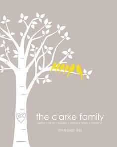 "Personalized Custom Love Birds Wedding Family Tree - Housewarming Gift - 8""x10"" (Light Taupe/Mustard)). $18.00, via Etsy."
