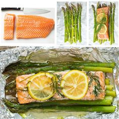 Prep Time: 10 minutes Cook Time: 20 minutes Yield: 4 servings  Ingredients  4 (6 oz) skinless salmon fillets 1 lb asparagus, tough ends trimmed 2 1/2 Tbsp olive oil 2 cloves garlic, minced Salt and freshly ground black pepper 1 lemon thinly sliced Fresh dill sprigs, or chopped fresh thyme, rosemary or parsley Directions  Preheat oven to 400 degrees. Cut four sheets of aluminum foil about 14-inch long. Divide asparagus into 4 equal portions (about 8 spears per foil packet) and layer in center…