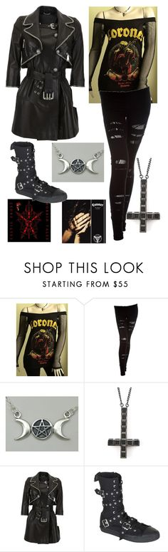 """Black/Avante Garde/Doom/Thrash"" by boxingclever ❤ liked on Polyvore featuring Nightcap, Alex and Chloe, Philipp Plein, Demonia, ripped tights, trench coats, satanic and leather coat"