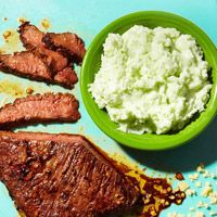Asian Marinated Flank Steak With Wasabi Mashed Potatoes - Made this tonight and it was delicious! @Emily May