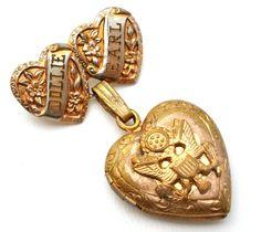Vintage Sweetheart Military Heart Locket Brooch
