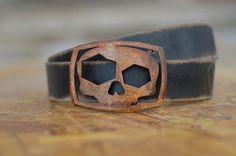 Skull Belt Buckle & Belt Combo by Fosterweld by FosterWeld on Etsy