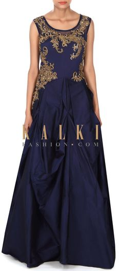 Buy this Navy blue gown adorn in zardosi and moti embroidery only on Kalki