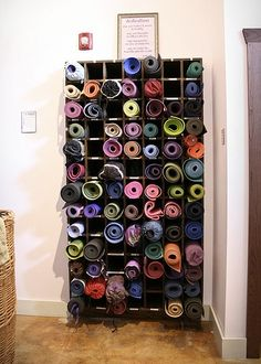 Yoga Studio Storage | Tranquil Space Yoga Studio. custom built yoga mat storage. stained ...