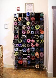 Yoga Studio Storage | Tranquil Space Yoga Studio. custom built yoga mat storage. stained ...