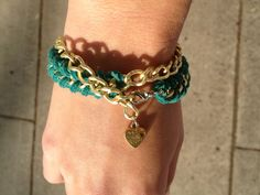 Gold Chain Bracelet with Turquoise Suede