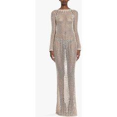 Balmain Woven cotton maxi dress ($1,035) ❤ liked on Polyvore featuring dresses, sand, balmain, maxi dress, white longsleeve dress, white cotton dress and long sleeve dress