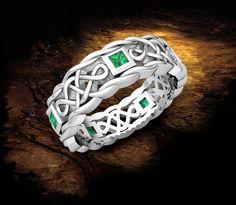 Mens Emerald Wedding Band in 14k White Gold by MyLoveWeddingRing