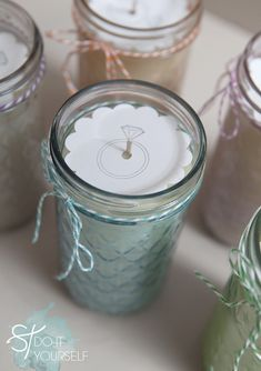 Tinted Mason Jar Candles. If you have ever wanted to change the color of glasses now you can with Plaid's new Martha Stewart Liquid Fill glass paint.   Laura wants to try for Matt & Amanda...