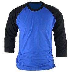 ililily Simple Basic 100% Cotton Baseball 3/4 raglan sleeve T-shirt for Men (tshirts-008-9-XS) ililily