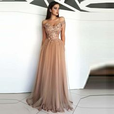 Evening Dress Long Appliques Beading Sexy Bride Banquet Elegant Floor-length Party Prom Dress Robe De Soiree Thank you the dress is perfect. Floral Prom Dresses, Tulle Prom Dress, Prom Party Dresses, Elegant Dresses, Homecoming Dresses, Sexy Dresses, Formal Dresses, Tulle Lace, Long Dresses