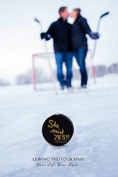 Hockey Themed Engagement Announcement www.lewingphotography.com Copyright Lewing Photography 2013