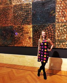 "Yesterday we got all artsy and went to the opening of an exhibition our flatmate here in Rome helped organise! Not sure what was more beautiful the art or the building. The piece behind me is made from copper and is the ""print"" of cobblestones in Naples cool huh? #wheninrome #culturetime #artsyfartsy"