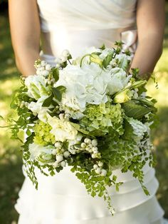 Pretty green and white bouquet – I am so certain this would be stunning with mint peppered throughout!