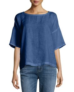 Eileen Fisher handkerchief linen top, available in your choice of color. Boat neckline. Short drop-shoulder sleeves. Boxy silhouette. Pull-on style. Organic linen; machine wash. Imported.