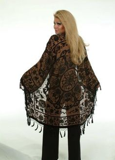 art deco vintage gypsy boho duster fringed coat by goddesspeacock, $189.99