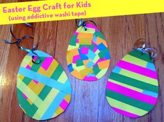 A cute and simple way to create Easter egg decorations at home. #preschool #kindergarten #toddler