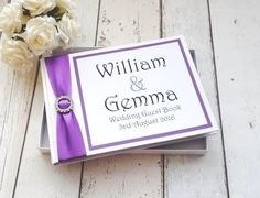 Classic personalised wedding guest book diamante buckle