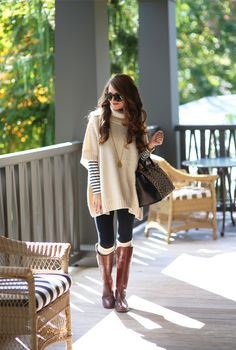 striped turtleneck + poncho sweater + leggings + riding boots + boot socks