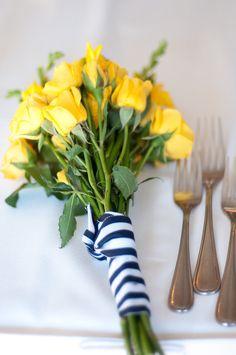 Yellow roses + navy striped ribbon (via @Style Me Pretty)