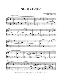 What Child is This? Free intermediate level Christmas Carol to print or save as digital music on your iPad.
