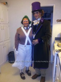 Homemade Oompa Loompa and Willy Wonka Couple Costume (Won 1st Place in 3 Contests!)... This website is the Pinterest of costumes