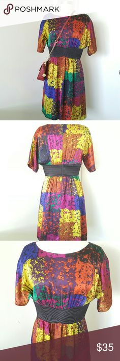 """TRINA TURK Multicolor Silk Dress 100% silk multicolor dress with contemporary print,  fully lined, beautiful dress can be wear with cardigan or jacket. Zippered closure on the back,  excellent condition been worn only one time. Short sleeve. Measurements are length 36"""" x waist 32"""" Trina Turk Dresses"""