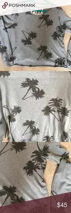 NEW VICTORIA SECRET SLOUCHY PULLOVER SZ M VICTORIA SECRET SLOUCHY PULLOVER. SZ M. LIGHT GRAY AND CHARCOAL PALM TREES. PARTIALLY RAW EDGE HEM. ONLINE ORDER. NEW Victoria's Secret Tops Sweatshirts & Hoodies