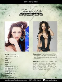 Book our fabulous female models in Toronto or Montreal to brighten up your event! Femme Fatale Media roster consists of beautiful and energetic models who are able to present your brand or event in a one-of-a-kind way! British Names, Promotional Model, Montreal, Vancouver, Toronto, Models, Education, Cards, Fashion Models
