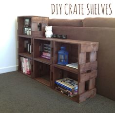 DIY Crate Shelves - behind couches in living room that will face dining area Diy Furniture Projects, Diy Pallet Projects, Pallet Furniture, Home Projects, Couch Storage, Diy Storage, Shelf Behind Couch, Diy Regal, Crate Shelves