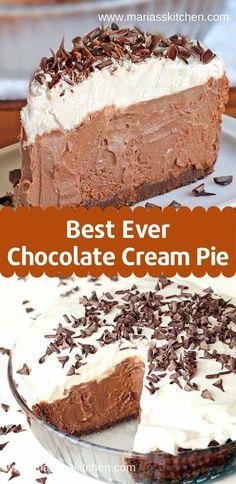 Easy and Delicious Chocolate Cream Pie Recipe - Maria's Kitc.-Easy and Delicious Chocolate Cream Pie Recipe – Maria's Kitchen - Pecan Desserts, No Bake Desserts, Easy Desserts, Easy Delicious Desserts, Recipes For Desserts, Healthy Recipes, Desserts Keto, Sweet Desserts, Dinner Recipes