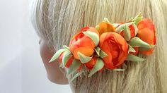 Haarschmuck & Kopfputz - Braut Haarkamm in Orange - ein Designerstück von alw-design bei DaWanda