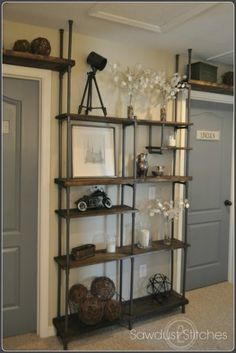 Industrial shelf made with inexpensive PVC pipe | Sawdust 2 Stitches on Remodelaholic.com