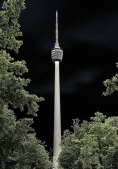 Stuttgart, fernsehturm at night