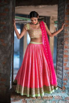 SC-L1130: Peach and Mint Green Lehenga with Pink cut work dupattaWe can customize the colour   size as per your requirement.To order  WhatsApp on 9949944178 or mail us  issadesignerstudio@gmail.com  26 January 2017