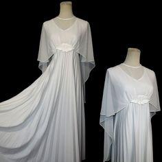 Vtg 70s White Wedding Gown Cape Dress L/XL Empire Waist Accordion Pleated Skirt #vtg #70s #1970s #WhiteWeddingGown #CapeDress #AccordionPleated #SemiCircularSkirt #FloorLength #l/xl #polyester #FloralApplique #EmpireWaist #MothballHavenVintageThreads