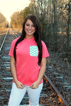 Pocket Tees - Coral  $20.99  #SouthernFriedChics